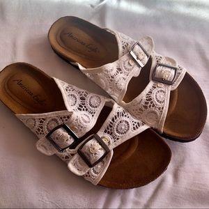 White sheer sandal slides